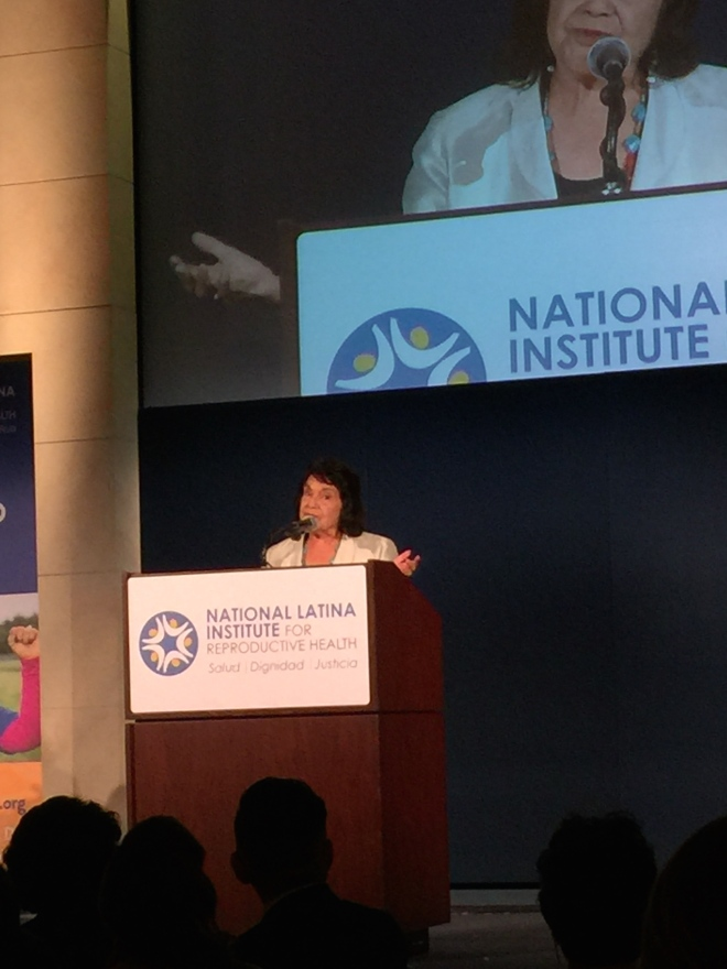 Dolores Huerta speaking at the NLIRH 20th Anniversary Gala